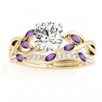 Marquise Amethyst & Diamond Bridal Set Setting 14k Yellow Gold (0.43ct)