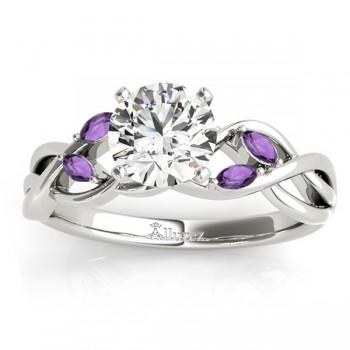 Marquise Amethyst & Diamond Bridal Set Setting Platinum (0.43ct)