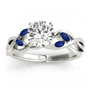 Marquise Blue Sapphire & Diamond Bridal Set Setting 14k White Gold (0.43ct)