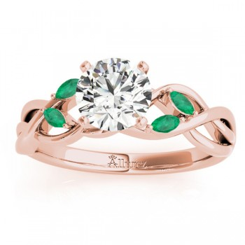 Marquise Emerald & Diamond Bridal Set Setting 14k Rose Gold (0.43ct)