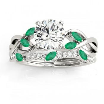 Marquise Emerald & Diamond Bridal Set Setting 18k White Gold (0.43ct)