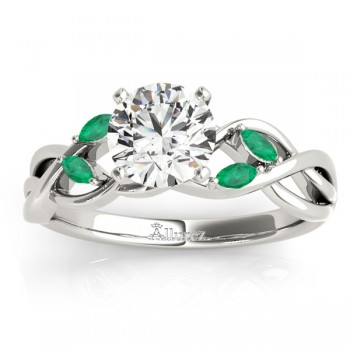Marquise Emerald & Diamond Bridal Set Setting 18k White Gold (0.43ct)