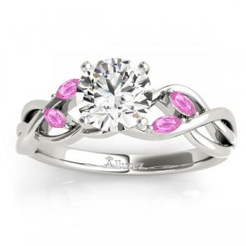 Marquise Pink Sapphire & Diamond Bridal Set Setting 14k White Gold (0.43ct)