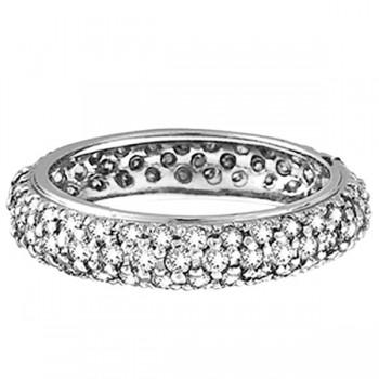 Pave Set Three Row Eternity Diamond Ring Band 14K White Gold (1.58ct)