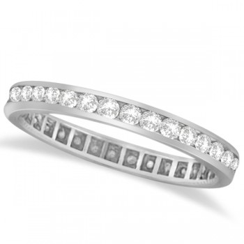 Channel Set Diamond Eternity Ring Band 14k White Gold (1.00 ct)