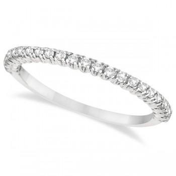 Half-Eternity Pave-Set Diamond Stacking Ring 14k White Gold (0.25ct)