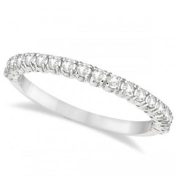 Half-Eternity Pave-Set Thin Diamond Stacking Ring 14k White Gold (0.50ct)