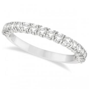 Half-Eternity Pave-Set Diamond Stacking Ring 14k White Gold (0.75ct)