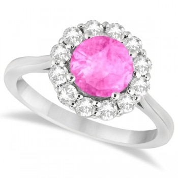 Halo Diamond Accented and Pink Sapphire Lady Di Ring 14K White Gold (2.14ct)