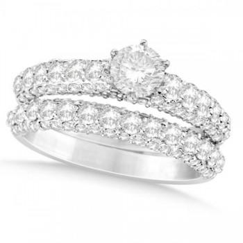 Diamond Engagement Ring Wedding Band Set in 14k White Gold (2.00ct)