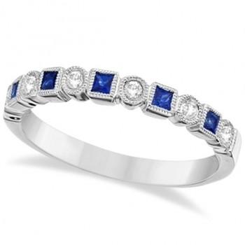 Princess Cut Blue Sapphire & Diamond Ring Band 14k White Gold (0.40ct)