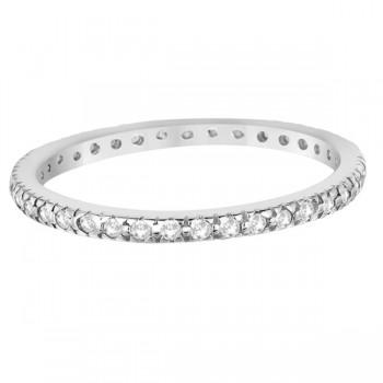 Pave Diamond Eternity Ring Anniversary Band 14K White Gold (0.26ct)
