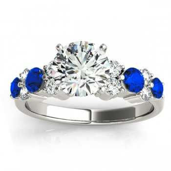 Blue Sapphire & Diamond Engagement Ring 14K White Gold (0.66ct)