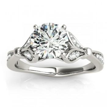 Diamond Tulip Engagement Ring Setting 14K White Gold (0.21ct)