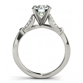 Diamond Tulip Engagement Ring Setting 14K White Gold (0.21ct)