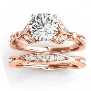 Diamond Accented Tulip Bridal Set 14K Rose Gold (0.38ct)