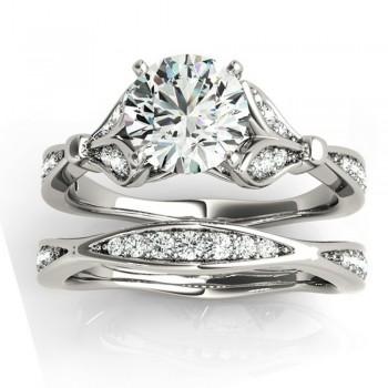 Diamond Accented Tulip Bridal Set 14K White Gold (0.38ct)