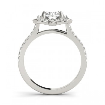Diamond Royal Halo Engagement Ring Setting 14K White Gold (0.31ct)