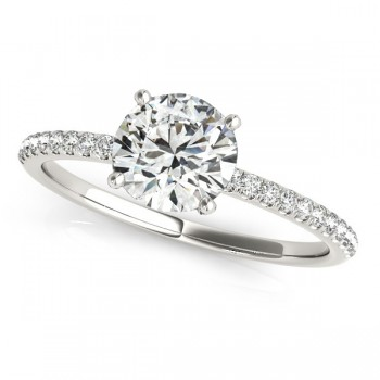 Diamond Accented Round Engagement Ring 14k White Gold (0.62ct)