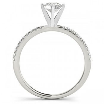 Diamond Accented Engagement Ring Setting 18k White Gold (0.12ct)