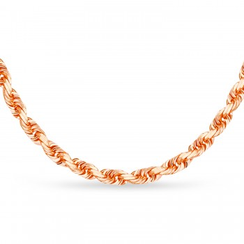 Rope Chain Necklace With Lobster Lock 14k Rose Gold
