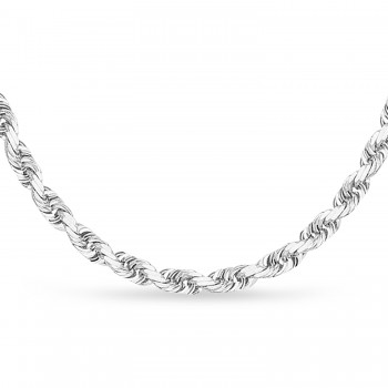 Rope Chain Necklace With Lobster Lock 14k White Gold