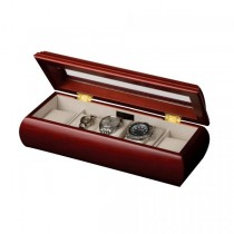 5 Compartment Watch Box, Collectors Case Wood Cherry Finish, Glass Top