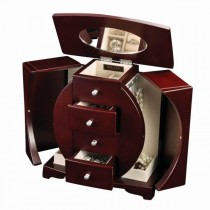 Wooden Upright Jewelry Box in Mahogany Finish, Oval Cut-Out Design