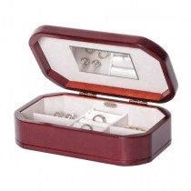 Women's Wooden Jewelry Box, Cherry Finish, Interior Mirror, Ring Rolls