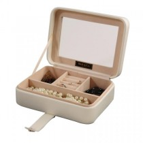 Ivory Faux Leather Jewelry Box, 3 Sections, Clear Lid, Jewel Case