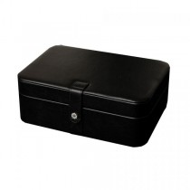 Black Faux Leather Jewelry Box, 48 Sections, Inside Mirror Jewel Case