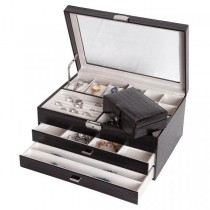 Locking Jewelry Chest w/ Travel Case Black Faux Leather, Glass Top