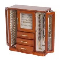 Upright Wooden Jewelry Box in Walnut Finish. Jewel Chest & Storage