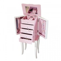 Girl's First Jewelry Armoire w/ Pink Drawers, White Accents, Mirror