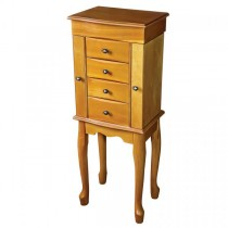 Classic, French Provincial Style Wooden Jewelry Armoire in Oak Finish