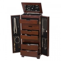Multi-Functional Large Wooden Jewelry Armoire in Dark Walnut Finish