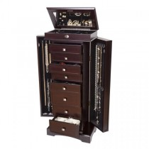Wooden Jewelry Armoire Dark Walnut Finish, 8 Drawers, Necklace Doors