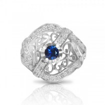 Blue Sapphire & Diamond Filigree Fashion Ring 18k White Gold (0.71ct)