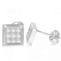 Diamond Invisible Set Princess Stud Earrings in 14k White Gold (0.86ct)