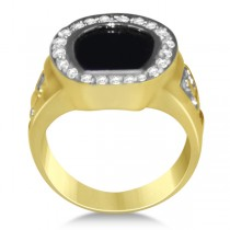 Diamond Accented Black Onyx Ring in 14k Yellow Gold (0.25ct)