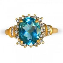 Oval Cut Blue Topaz & Diamond Cocktail Ring 14k Yellow Gold (2.51ct)