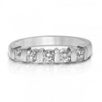 Bar-Set Five-Stone Diamond Wedding Ring Platinum (0.50ct)
