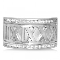 Diamond Roman Numeral Fashion Ring in 14k White Gold (0.50ct)