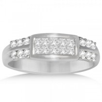 Diamond Accented Invisible Set Wedding Band in 14k White Gold (0.65ct)