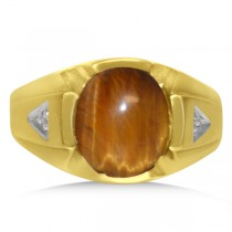 Diamond Tiger Eye Engagement Ring in 14k Yellow Gold (4.45ct)