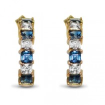 Diamond & Blue Sapphire Huggie Earrings in 14k Yellow Gold (0.85ct)