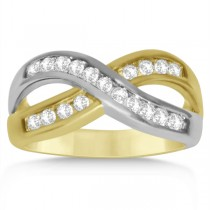 Diamond Accented Twisted Wedding Band in 14k Two Tone Gold (0.50ct)
