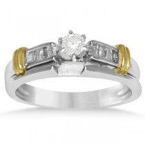 Diamond Accented Baguette Bridal Set in 14k Two Tone Gold (0.36ct)