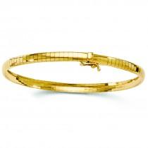 Ladies 4mm Omega Domed Bangle Bracelet 14k Yellow Gol