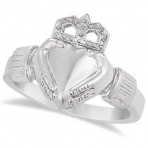 Women's Heart Claddagh Ring Irish Wedding Band 14k White Gold